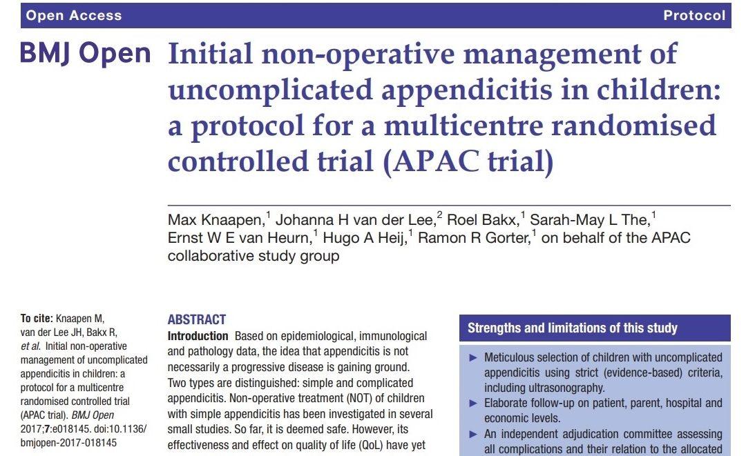 Protocol APAC trial gepubliceerd in BMJ open